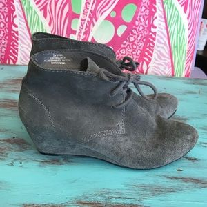 Other - Suede gray wedge booties so cute! Leather